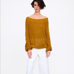 ZARA Oversized Wide Neck Cotton Sweater